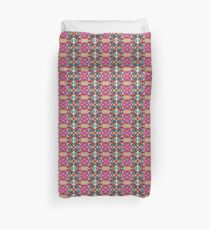 Turquoise Pink Gold Repeating Pattern Duvet Cover