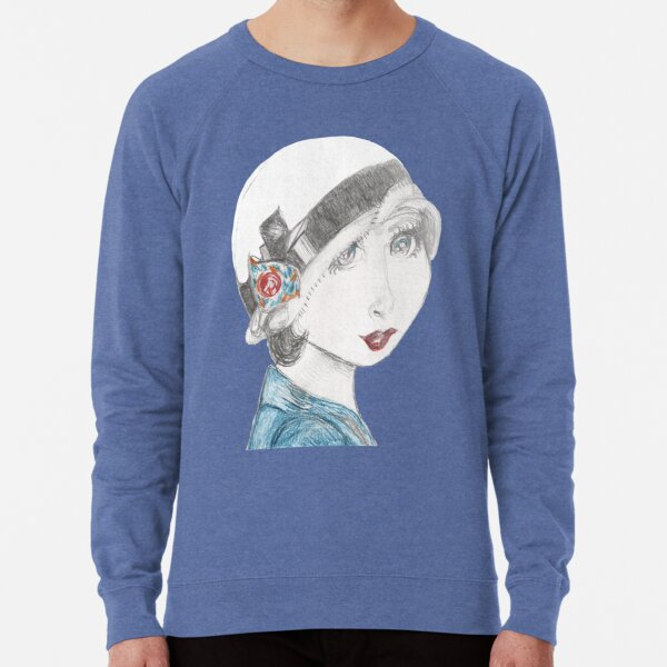 Art Deco Inspired Flapper In Reds and Blues Lightweight Sweatshirt