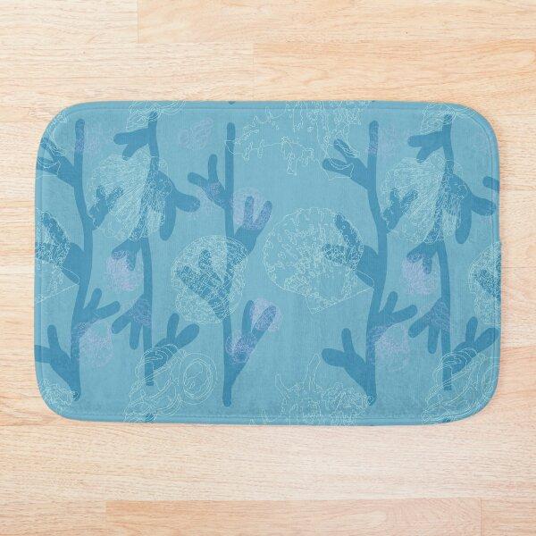 Seashells seaweed pattern in blue Bath Mat