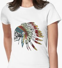Skull in Indian feathers. Fitted T-Shirt