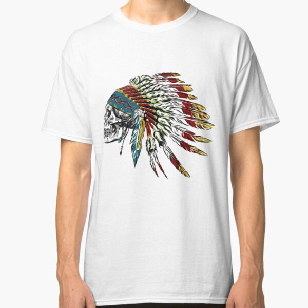 Skull in Indian feathers. Classic T-Shirt