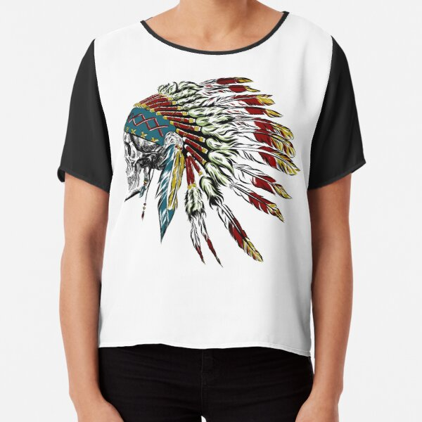 Skull in Indian feathers. Chiffon Top