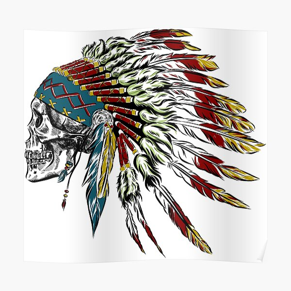 Skull in Indian feathers. Poster