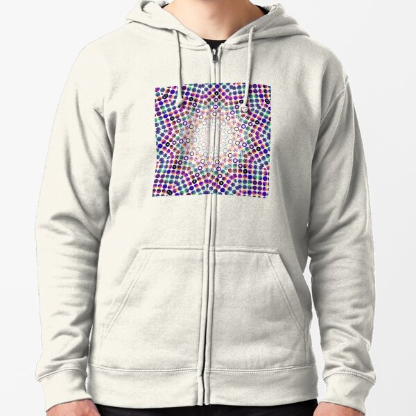 Rose Curve Hendecagon Kaleidoscope | Abstract Geometric African Urban Fusion White Zipped Hoodie