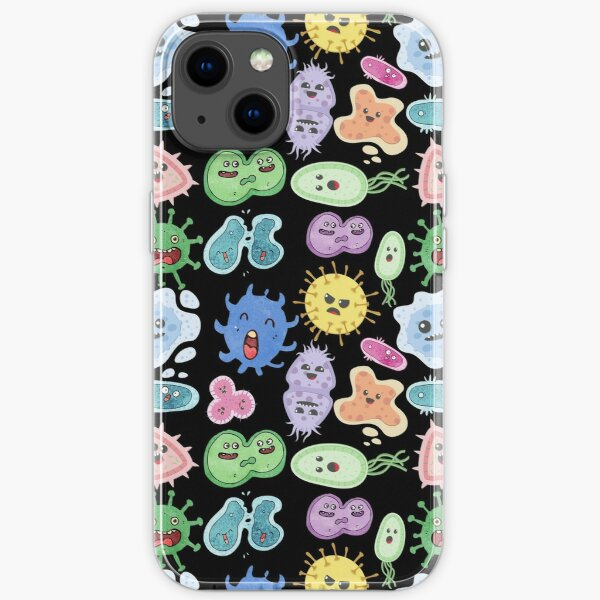 Cute Microbes Bacteria, Virus, Ecoli MicroBiology Seamless Pattern Sticker Pack.  iPhone Soft Case