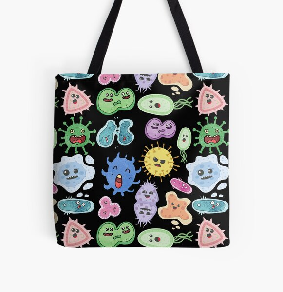 Cute Microbes Bacteria, Virus, Ecoli MicroBiology Seamless Pattern Sticker Pack.  All Over Print Tote Bag