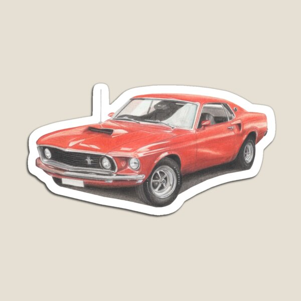 Ford Mustang Boss 729 Coloured Pencil Drawing Magnet