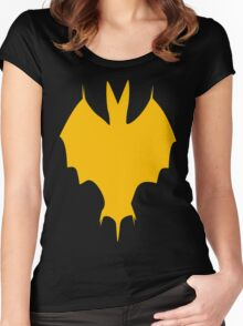 Orange-Yellow Silhouette Of a Bat  Women's Fitted Scoop T-Shirt