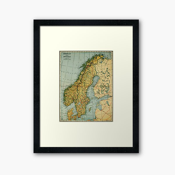 Vintage Map of Norway and Sweden (1921) Framed Art Print