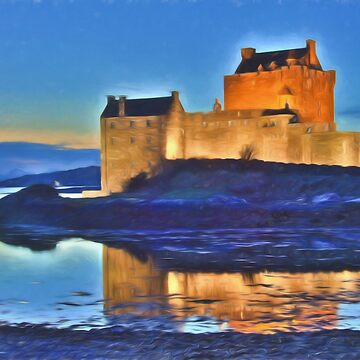 Eilean Donan Castle HDR , the Highlands , Scotland. Digital painting of iconic Scottish castle by goldyart