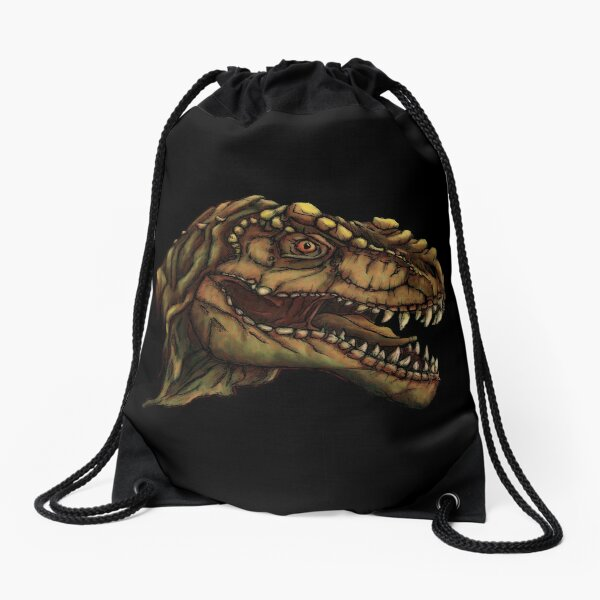 Tyrannosaurus on black background Drawstring Bag