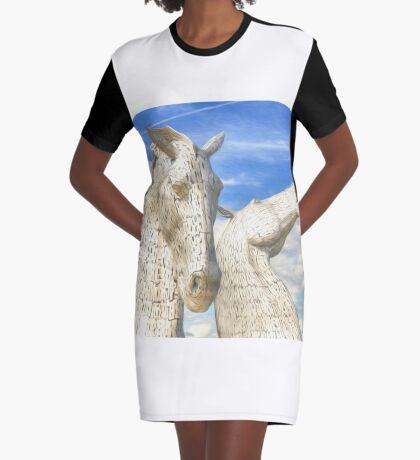 The Kelpies , Helix Park , Falkirk Graphic T-Shirt Dress