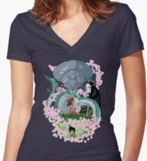 El mundo de Sen Women's Fitted V-Neck T-Shirt
