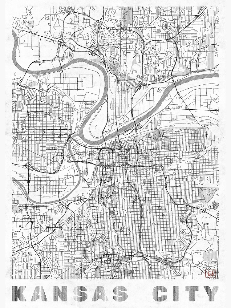 Kansas City Map Line by HubertRoguski