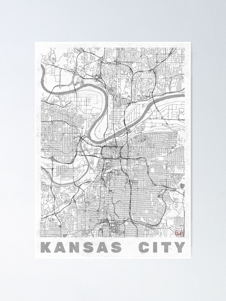Alternate view of Kansas City Map Line Poster