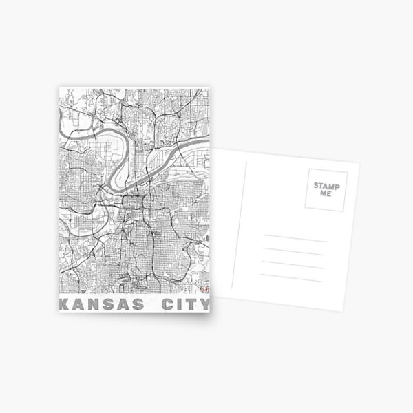 Kansas City Map Line Postcard