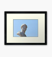 marble bust on blue Framed Print