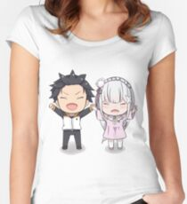 RE:Zero Subaru and Emilia Chibi Fitted Scoop T-Shirt