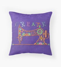 Create - Sewing Machine Art Throw Pillow