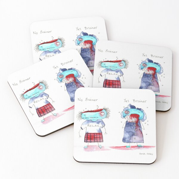 No Brainer, Yes Brainer Coasters (Set of 4)