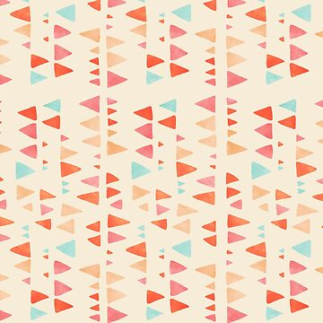 Back & Forth - triangle abstract pattern in peach, aqua & cream von micklyn