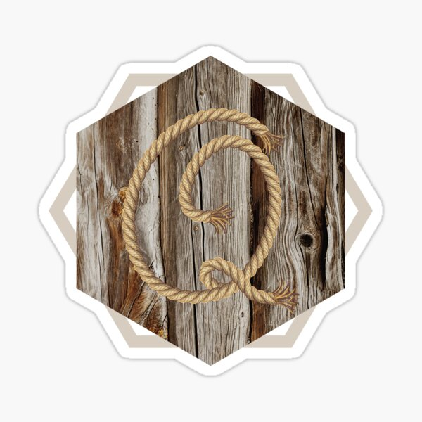 Oak wood hexagon with rope initial Q Sticker