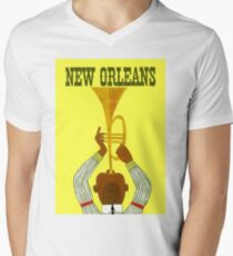 NEW ORLEANS ; Vintage Mardi Gras Print V-Neck T-Shirt