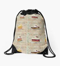 French Patisserie multi print Drawstring Bag