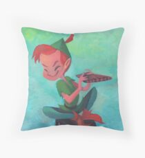 Story time with Peter Pan Throw Pillow