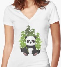High panda Women's Fitted V-Neck T-Shirt