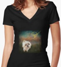 When Puppies Get Confused Women's Fitted V-Neck T-Shirt