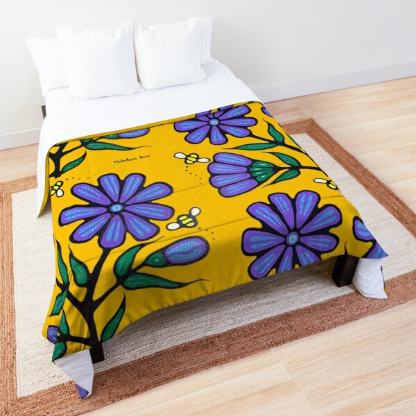 Bees and chicory 2 Comforter