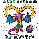 Infinite Magic - Cute Whimsical Dragon Watercolor Illustration by mellierosetest