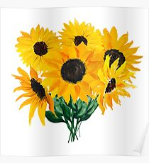 Painted sunflower bouquet Poster