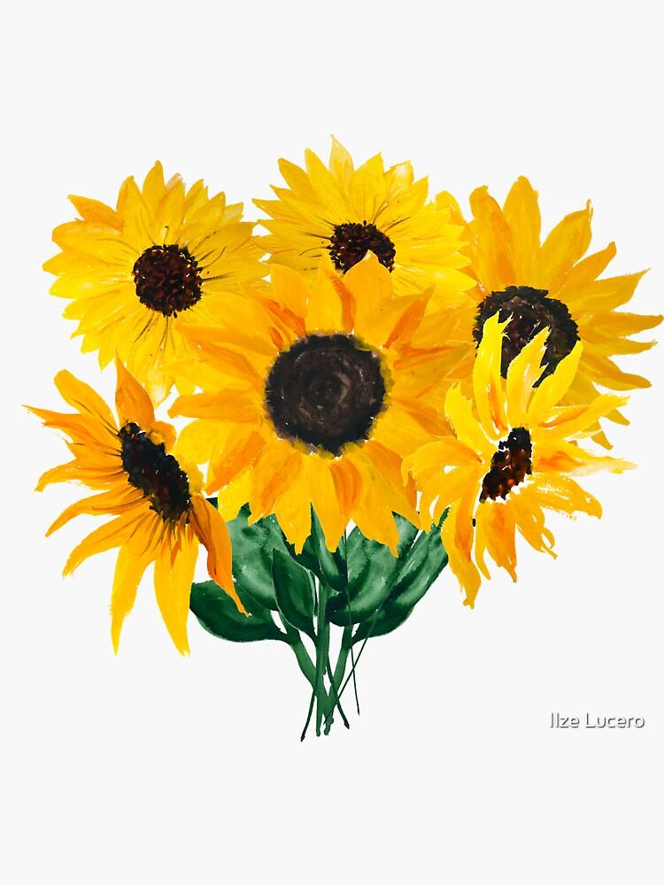 Painted sunflower bouquet by ilzesgimene