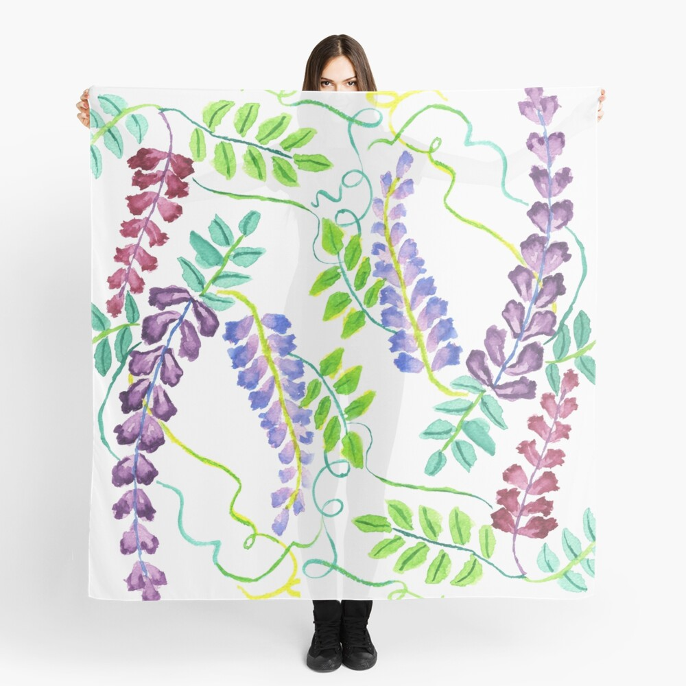 Hand-Painted Watercolor Japanese Wisteria Flowers Scarf