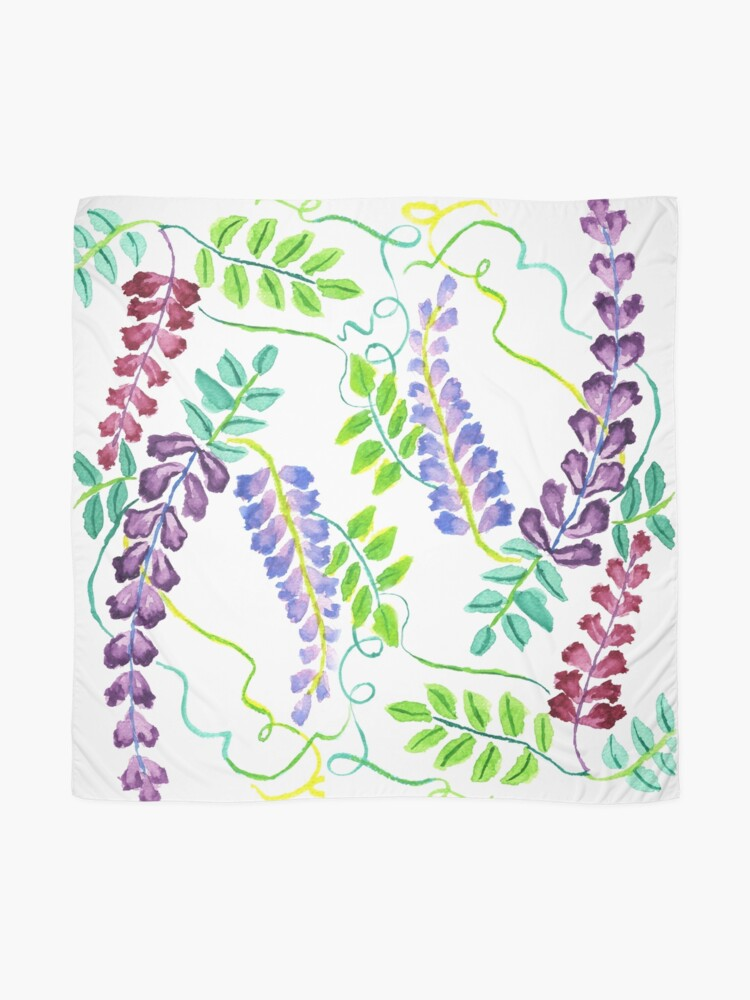 Alternate view of Hand-Painted Watercolor Japanese Wisteria Flowers Scarf