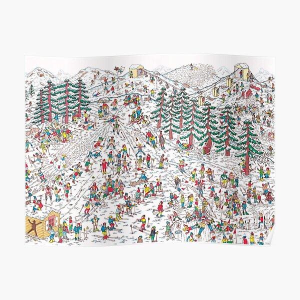 Where's Waldo Snow Hill Scene Poster