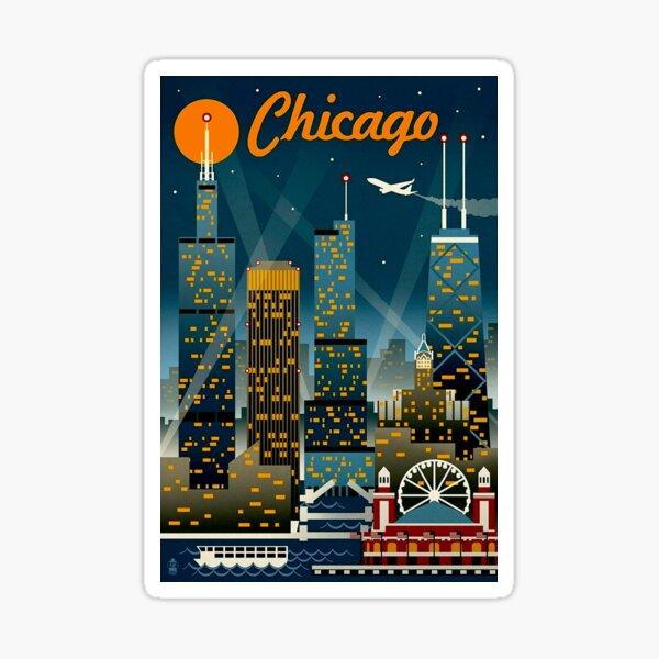 """CHICAGO"" Vintage Travel Advertising Print Sticker"