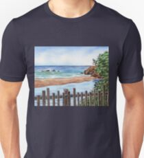 Ocean Shore Seascape In Watercolor T-Shirt