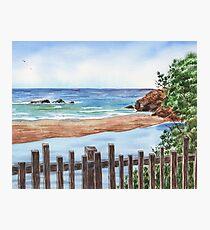 Ocean Shore Seascape In Watercolor Photographic Print