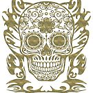 Skull Flower Totenkopf filigran Tribal by fuxart
