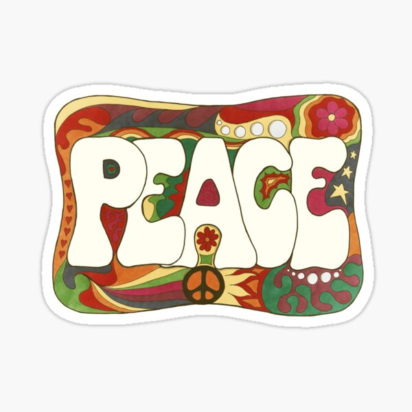 Vintage Psychedelic Peace and Love Sticker