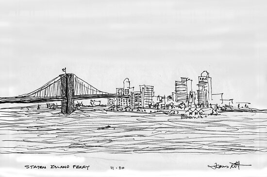 NYC- Brooklyn Bridge as drawn from Staten Island Ferry by James Lewis Hamilton