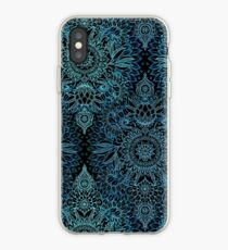 Black, Teal & Aqua Protea Doodle Pattern iPhone Case