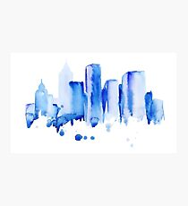 silhouette of the city of new York watercolor hand-drawn Photographic Print