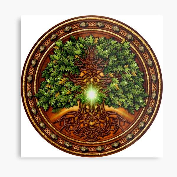 Celtic Oak Tree Shield Metal Print