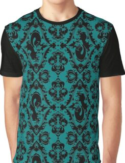 Mermaid Damask (Teal and Black) Graphic T-Shirt