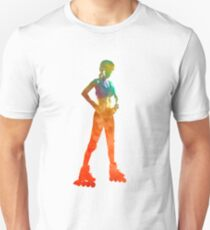 Woman in roller skates 11 in watercolor T-Shirt