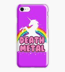 DEATH metal parody funny unicorn rainbow  iPhone Case/Skin